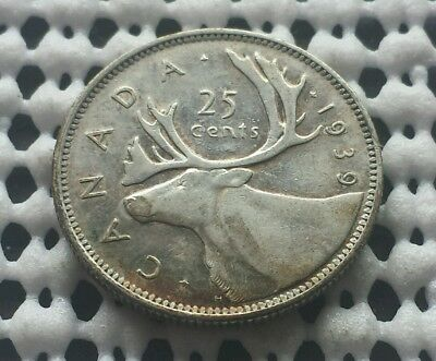 1939 ❀ King George VI ❀ 25 Cent Canada Silver Quarter Dollar Coin