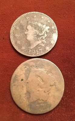 (2) 1817 Coronet Head Large Cents