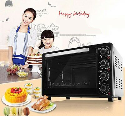 38L Home Commercial Black Multi-function Baking Tool Benchtop Electric Oven &