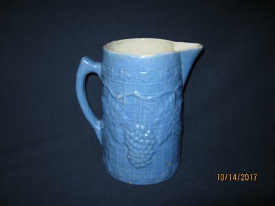 "Vintage Whitehall Il Ill Illinois Stoneware Pottery 6 3/4"" Blue Grape Pitcher"