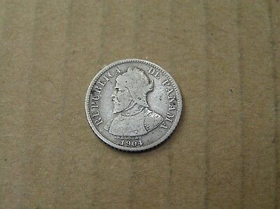 1904 Panama 5 Centesimos 90% Silver Coin, 18 mm