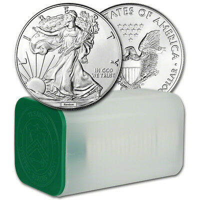 Random Date American Silver Eagle (1 oz) $1 - 1 Roll of 20 BU Coins in Mint Tube