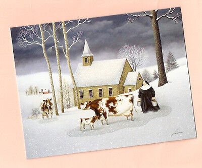 Catholic Nun Cow Glittery Christmas Cards Lang Box 18 cards Hillside Church