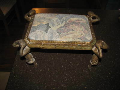 Gorgeous Cast Iron Ballerina Art Nouveau Tapestry Figurine Legs Foot Stool Rest