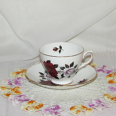 Colclough Footed Cup & Saucer Large Roses Ruby Red White Bone China England