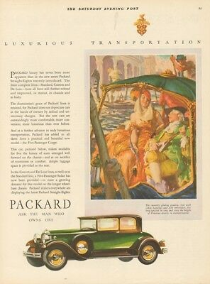 1929 Antique Green Packard Eight Coupe Closed Motor Car Venice Italy Art Ad