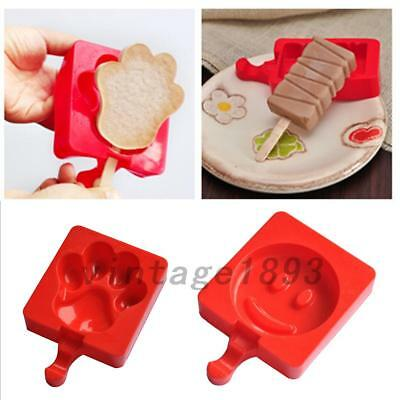 Red 8 Patterns Silicone Cake Tray Ice Lolly Popsicle Maker Jelly Frozen Mould