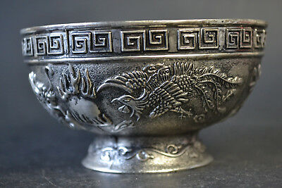 Collectible Handmade Old white copper carving dragon phoneix Bowl Decor Noble