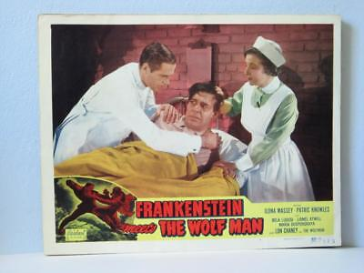 FRANKENSTEIN MEETS THE WOLFMAN Realart rr Lobby Card LON CHANEY in HOSPITAL BED
