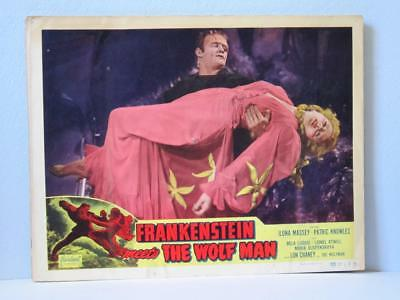 FRANKENSTEIN MEETS THE WOLFMAN Realart rr Lobby Card MONSTER Carries MASSEY