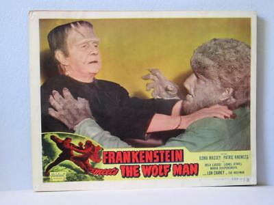 FRANKENSTEIN MEETS THE WOLFMAN Realart rr Lobby Card LUGOSI MONSTER & WOLFMAN