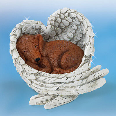 Dachshund Love Never Furr-gets Paw Prints Dog in Angel Wings Figurine