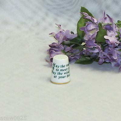 Collectible Thimble May The Road Rise To Meet You Porcelain China Sewing Gift