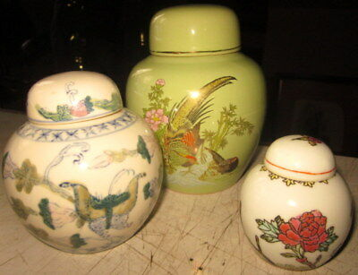 3 vintage ceramic Chinese ginger jars - 3 sizes