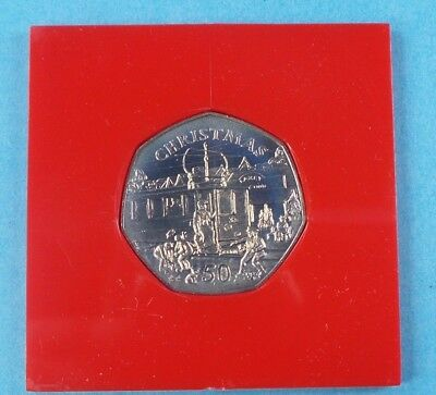 1989 First Day Cover 50P Coin Isle Of Man Christmas  Collection With Case  {9}