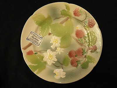 St Clement Peint a La Main Barbotine Majolica Raspberries Fruit Plate France