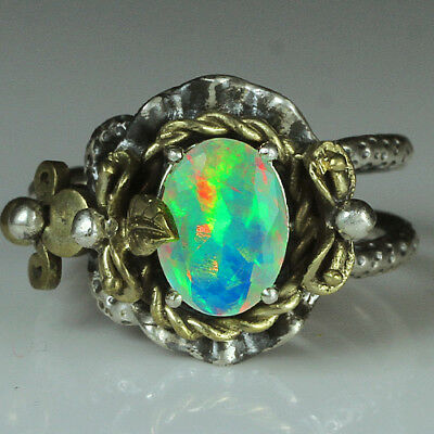 33.6CT Natural 925 Silver Oval Ethiopian White Opal Vintage Ring COLY34