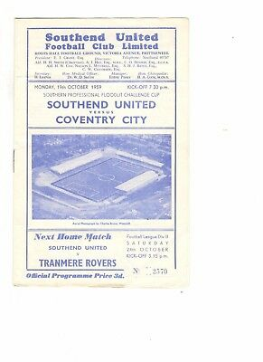 Southend United v Coventry City 1959 - 1960  Southern Prof Floodlit Cup