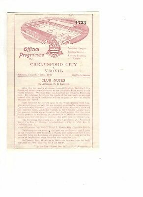Chelmsford City v Yeovil Town 1946 - 1947