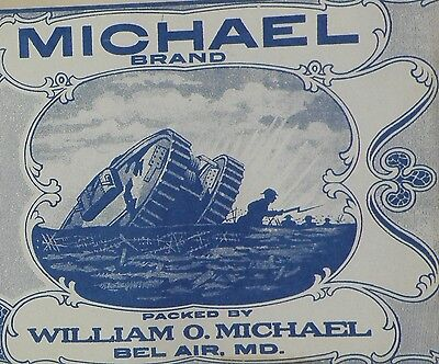 Original WWI Era Michael Brand Tomatoes Can Label - Tank & Soldiers in Trenches