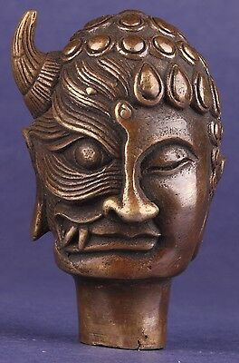 Superb Bronze Statues Reversible Buddhism Collectable Unique Cane Head Walking S