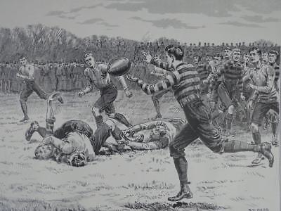 A Handy Pass By S.T. Dadd, Lithographic Rep of 19th Century Rugby Print