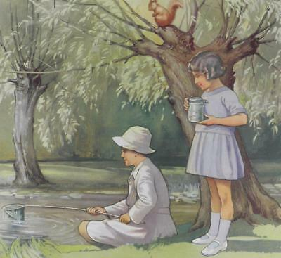 """CATCHING TADPOLES"" Original Vintage School Poster, Children at the Lake"