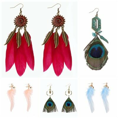 Fashion Vintage Ethnic Feather Bohemian Long Women's Earrings Jewelry Xmas Gift