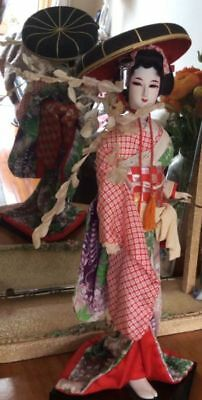 1970s Japanese doll Musume doll Wisteria Maiden silk clothing 40cm on stand