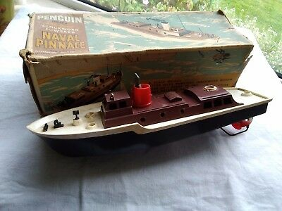 Vintage Triang Penguin Naval Pinnace Clockwork Boat Toy working order 1960s?