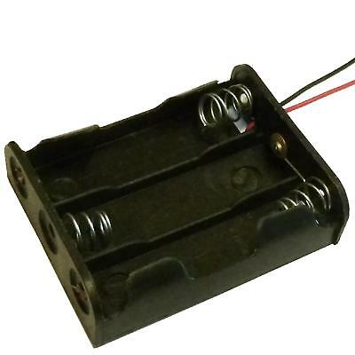 10x Plastic AAx3 / AA x 3 Battery Holder Black With 25cm Leads