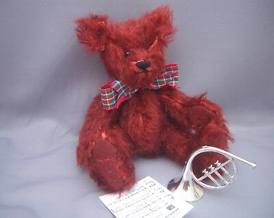 PAMS EXCLUSIVE BEARS-Small 6 inch Tall Mohair Teddy-Fergus & his French Horn