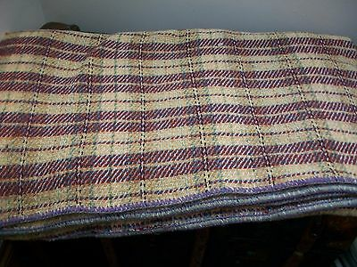 Large Vintage Welsh Blanket Reds/yellows/purples