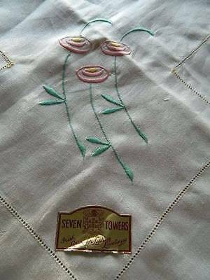 Vintage UNUSED cream Irish linen tablecloth with floral embroidery.