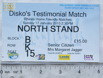 2010 ticket Leeds Rhinos, Disko's Testimonial Match, senior citizen
