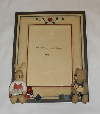 CHERISON HAND PAINTED PICTURE FRAME BUNNY TEDDY BEAR 5 x 7 PHOTO CHILDRENS DECOR