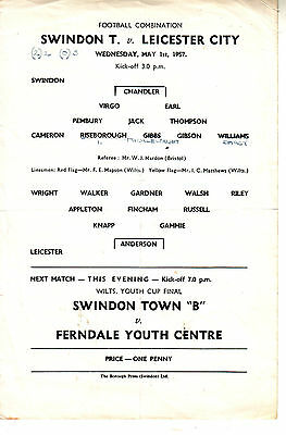 Swindon V Leicester City Reserve Match 1 May 1957  Vgc Very Rare