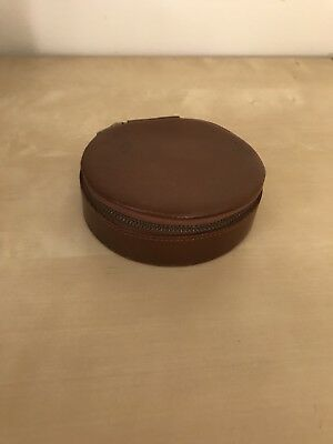 Vintage Leather Collar Stud Cufflink Box Real Leather Made In England