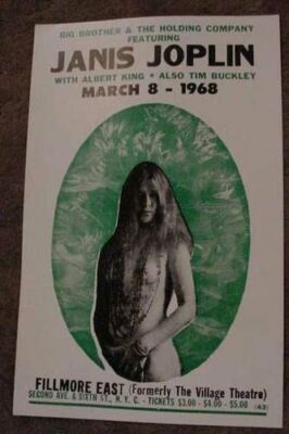 VINTAGE JANIS JOPLIN NYC 1968 CONCERT POSTER art janus ALBERT KING NEW YORK 60S