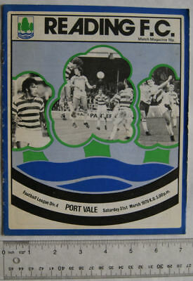 1979 programme Reading FC v. Port Vale