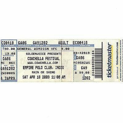 HENRY ROLLINS & CHEMICAL BROTHERS & BOB MOULD Concert Ticket Stub 4/18/09 INDIO