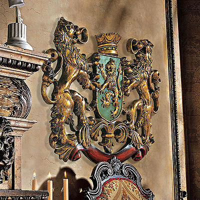 """Mythological Royal Coat of Arms Plaque Majestic Crown 22.5"""" Wall Sculpture NEW"""