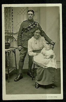 Early Real Photo Postcard - Soldier with Family - Bishops Stortford Photographer