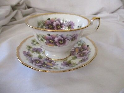 Crown China footed purple pansy cup & saucer set England bone china gold rim