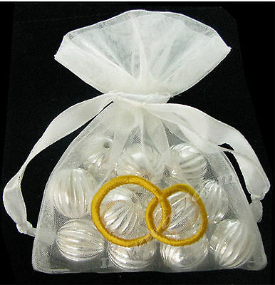 15pc 10x15cm White Premium Organza Embroidered Wedding Rings Large  Bags FREE PP