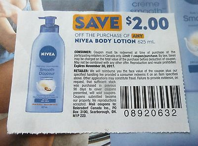 Lot Of Nivea Body Lotion Product Coupons