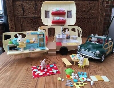 Sylvanian Families Car And Caravan With Rabbit Family & Accessories!