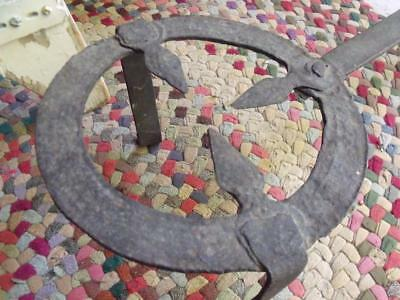 Old Primitive Antique Hand Forged Iron 3 Legged Hearth Trivet W/ Adjustable Arm