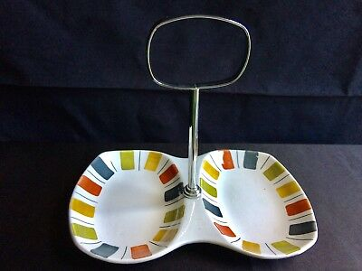 Midwinter Mexicana double bowl dish chrome handle Jessie Tait sweets/savouries