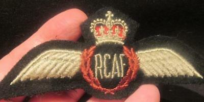Royal Canadian Air Force Heavily Padded Full Cloth Wing Post WWII Queens Crown